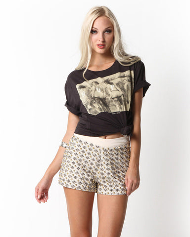 Genesee Metallic Beaded Shorts (Cream)