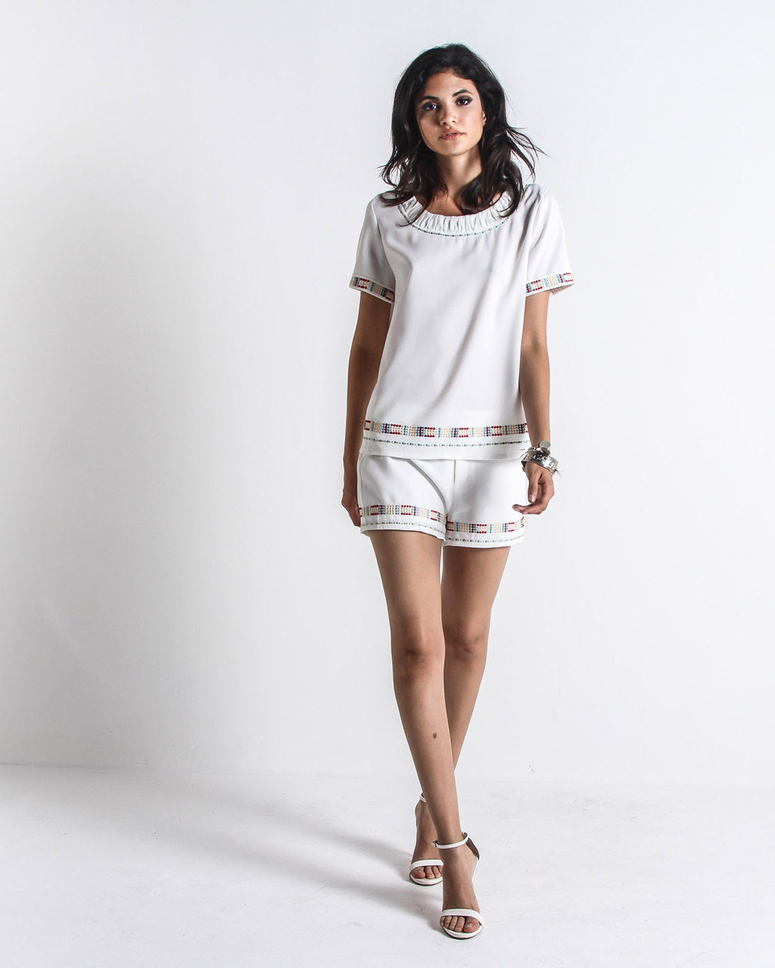 Helki Embroidered Shorts (White/Multi)
