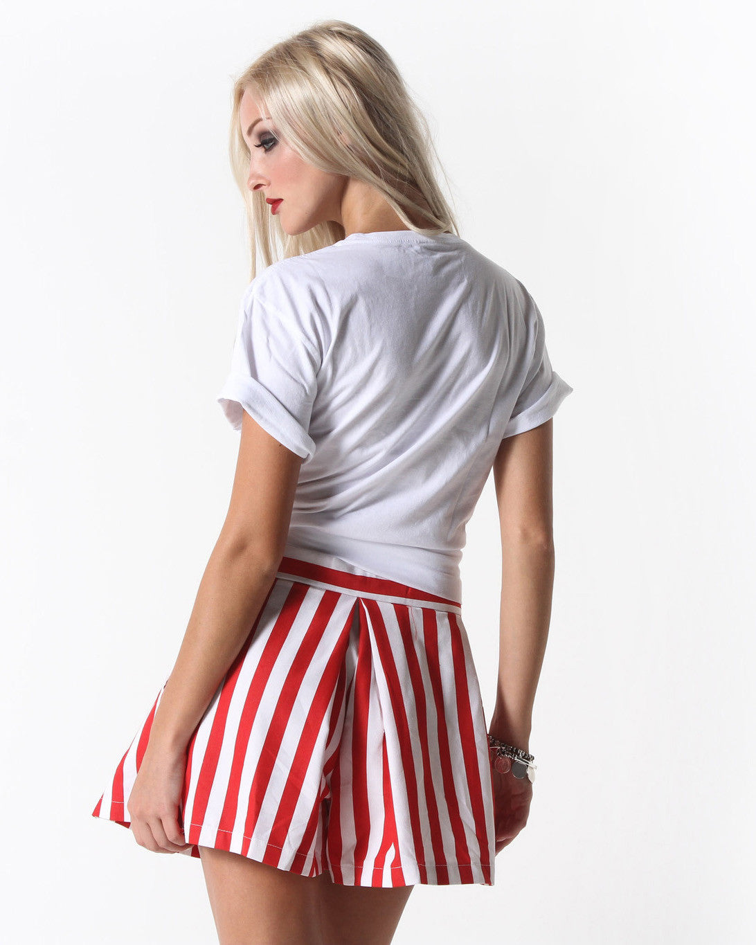Jolon Striped Flared Shorts (Red/White)