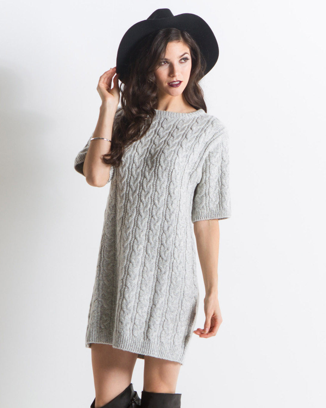 Knitz by For Love & Lemons - Women's Snow Day Oversized Sweater Dress (Grey)