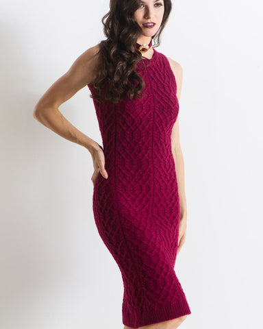Knitz by For Love & Lemons - Women's Snow Day Pencil Dress (Merlot)