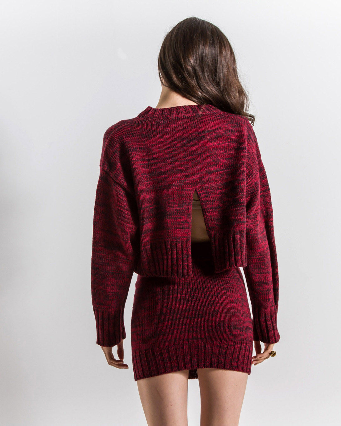 Lila Cropped Back Slit Knit Sweater (Red)