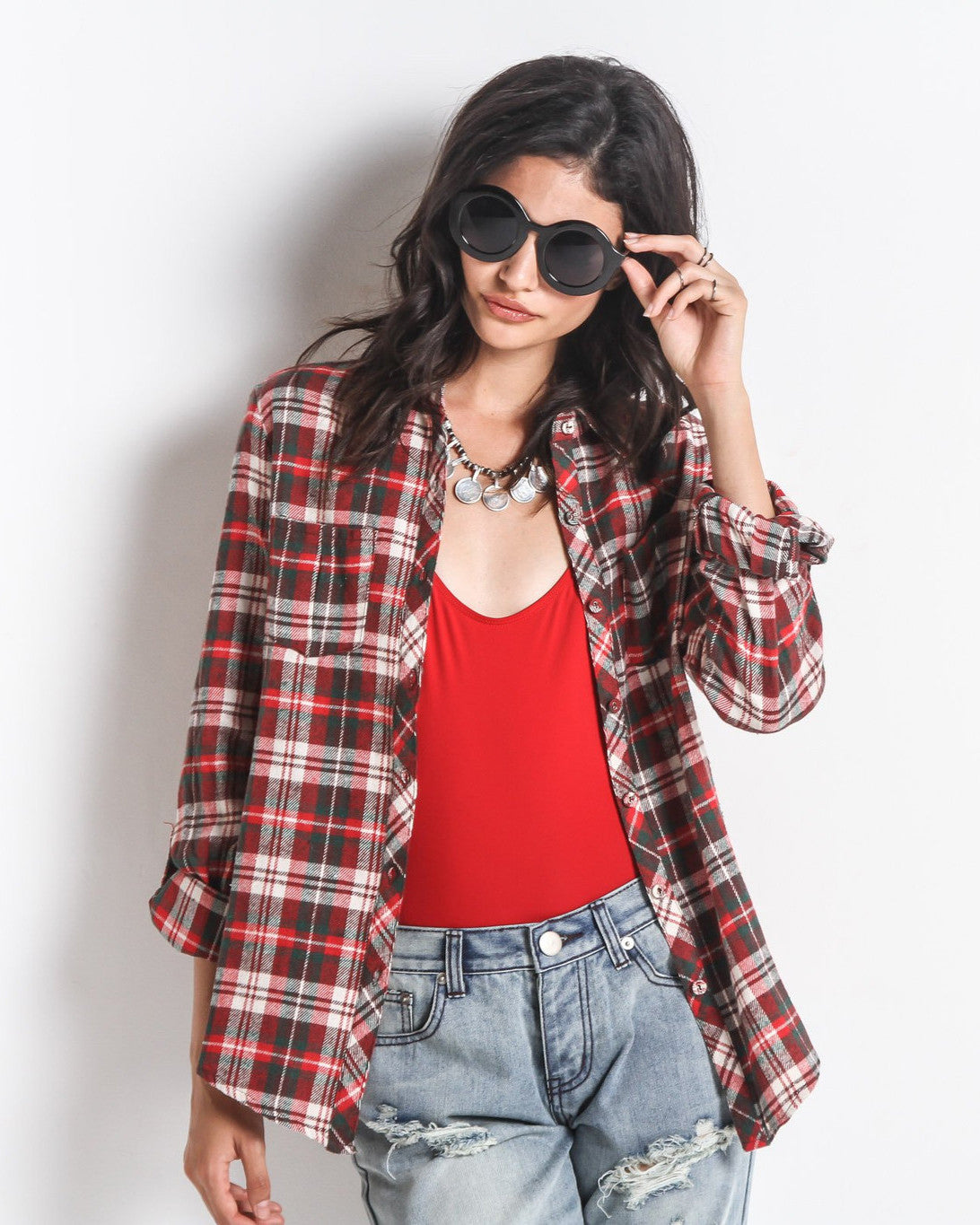 Lumberjack Plaid Button Up (Red)