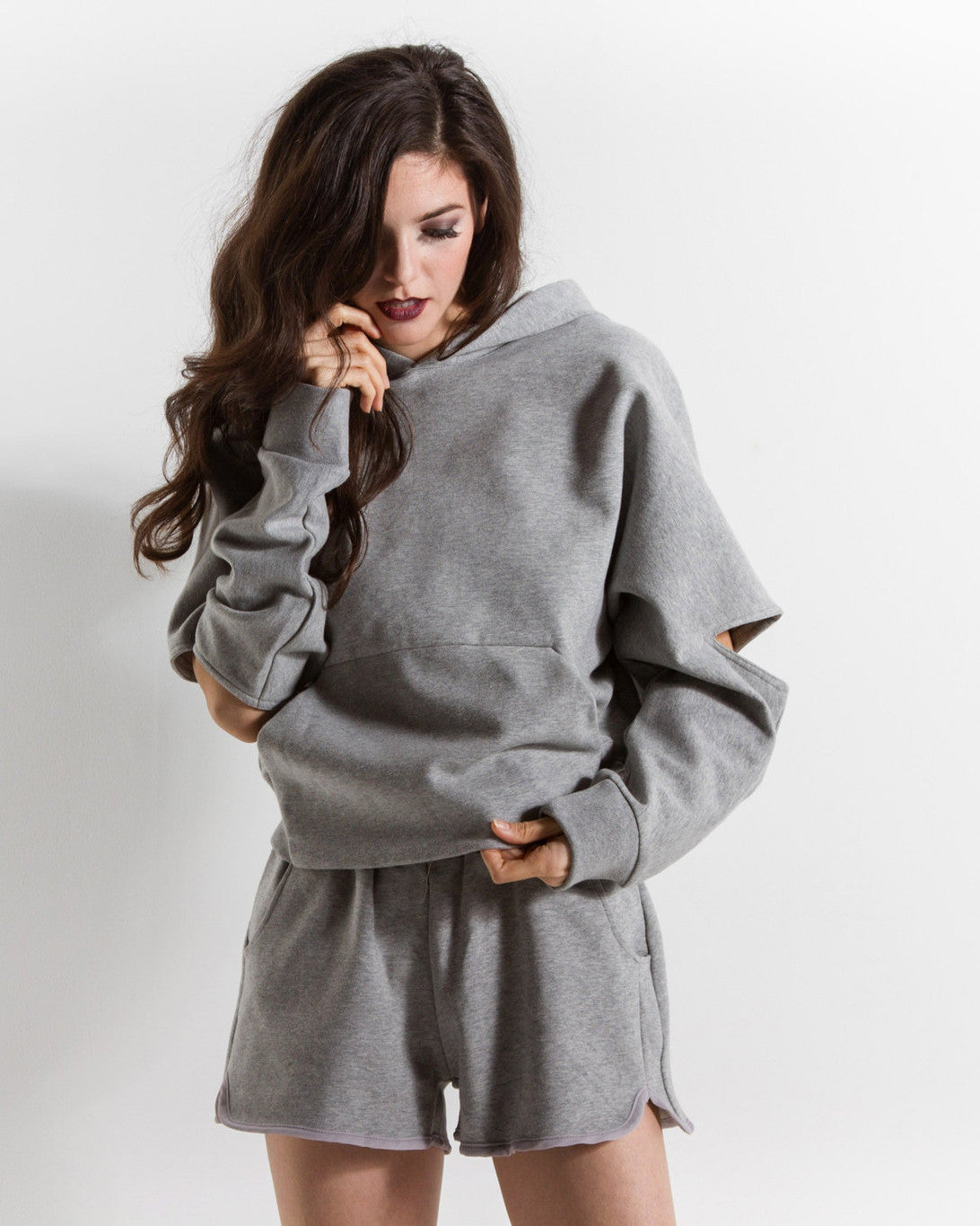 Maisie Cutout Hooded Sweatshirt (Grey)
