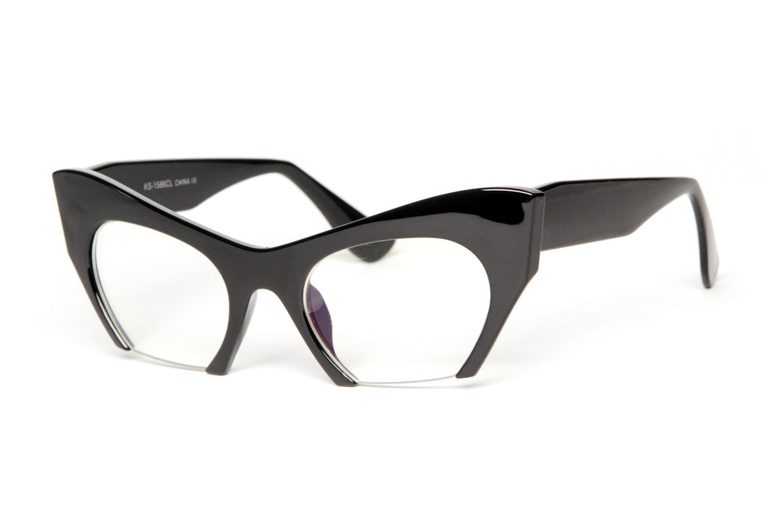 Modern Half Clear Lens Cateye Glasses