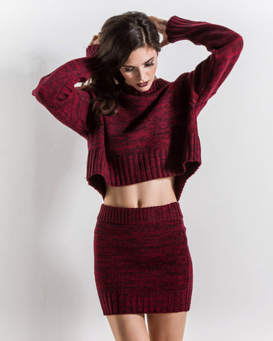 Nora Knit Mini Skirt (Red)