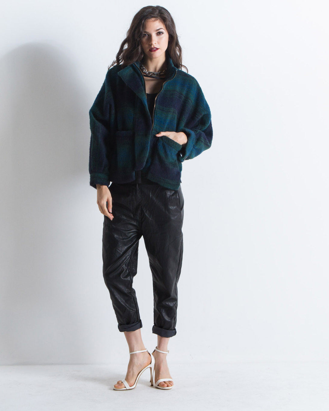 Rose Cropped Flannel Jacket (Green)