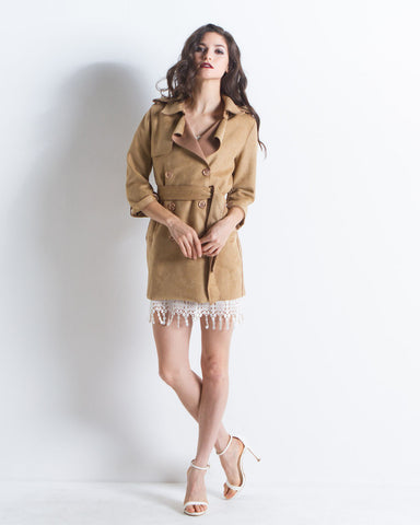 Scarlett Faux Suede Mini Trench Coat (Camel)