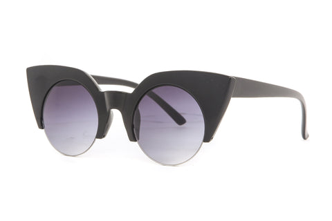 Semi Frame Round Cat Eye Sunglasses