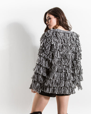 Shaggy Knit Sweater (Black/White)