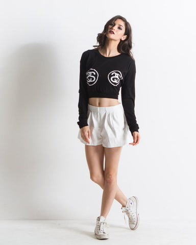 Women's Double Link Crop Tee (Black)