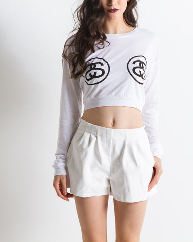 Women's Double Link Crop Tee (White)