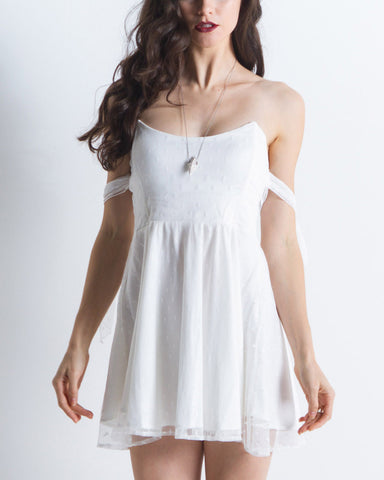 Women's Kiss Me Dress (White Dot)