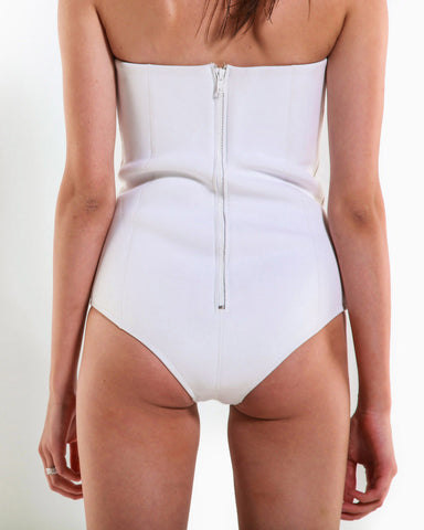 Women's Neo Minimal Bustier One Piece (White)