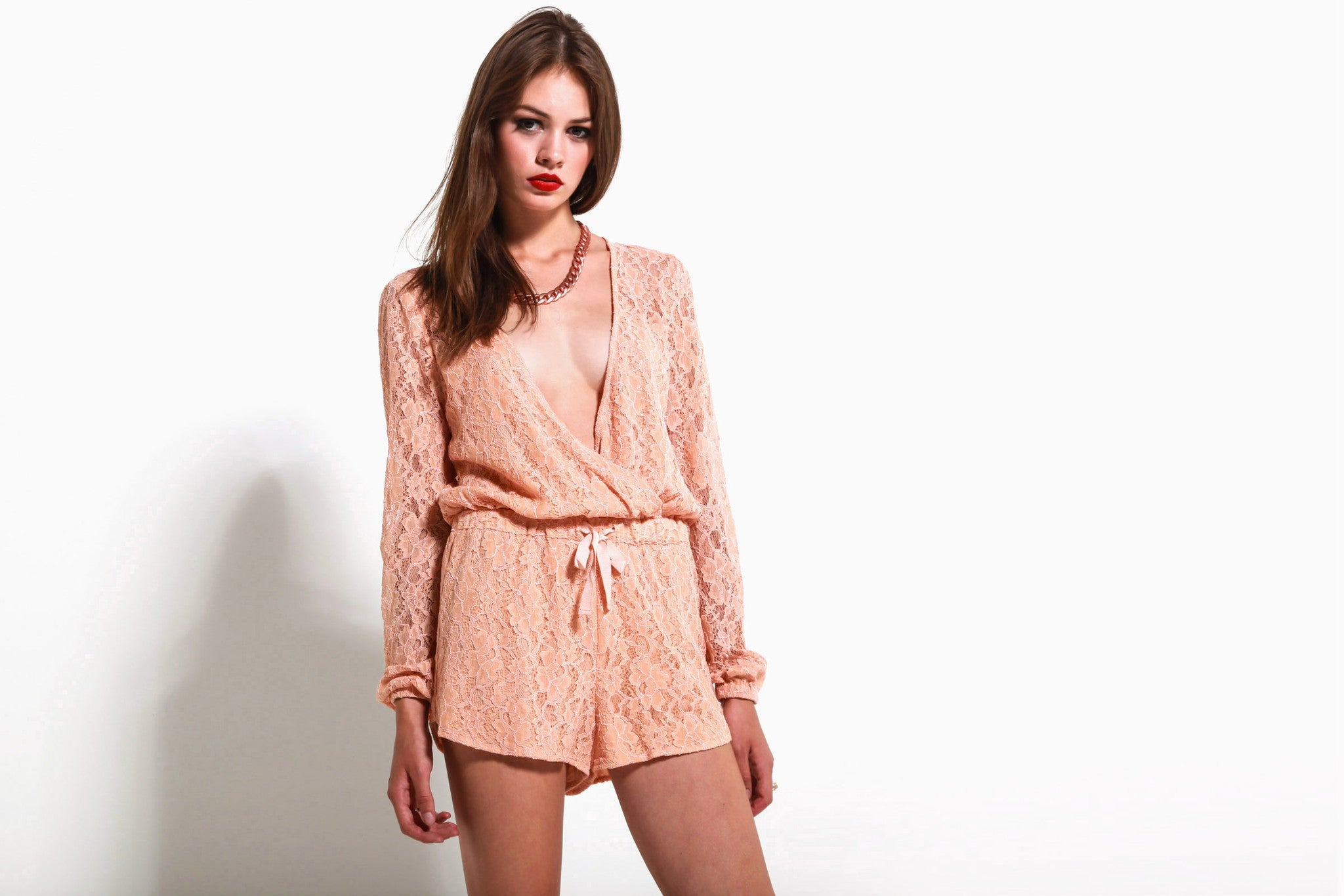 Women's On The Road Romper (Light Peach)