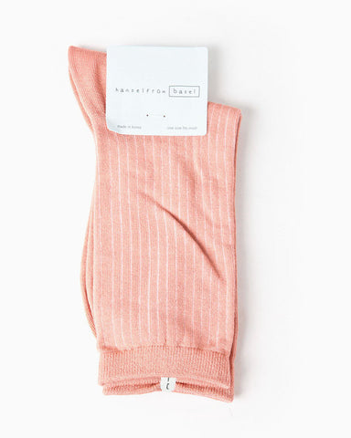 Women's Silk Colored Crew Sock (Coral)