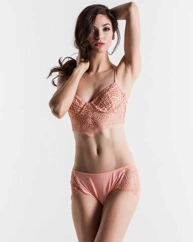 Women's Skivvies Bat Your Lashes Cheeky Panty (Peach Quartz)