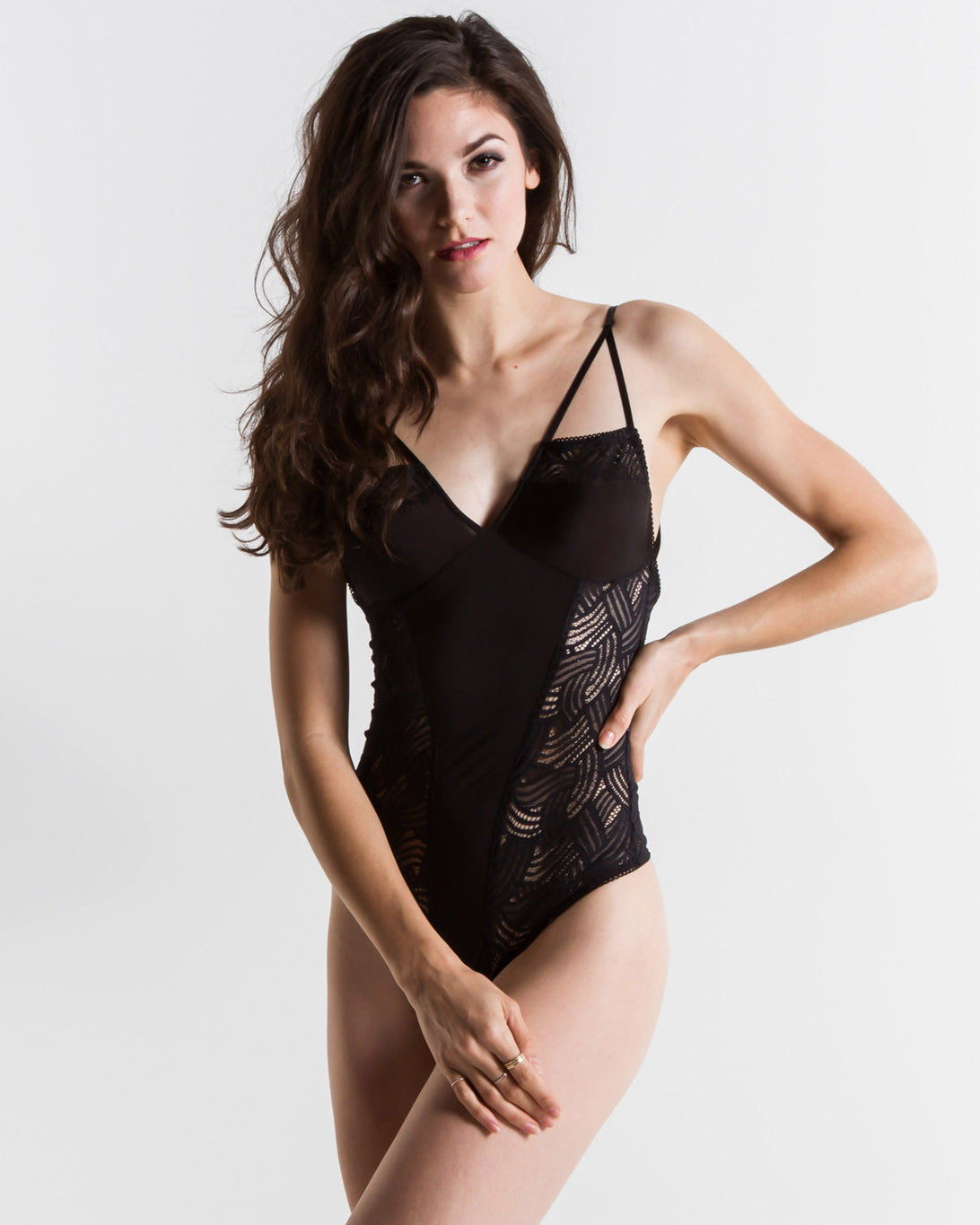 Women's Skivvies Long Line Bondage Bodysuit (Black)
