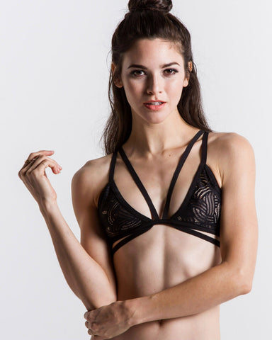 Women's Skivvies Love You Knot Bondage Bralette (Black)