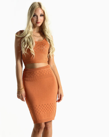 Women's Soul Knit Pencil Skirt (Rust)