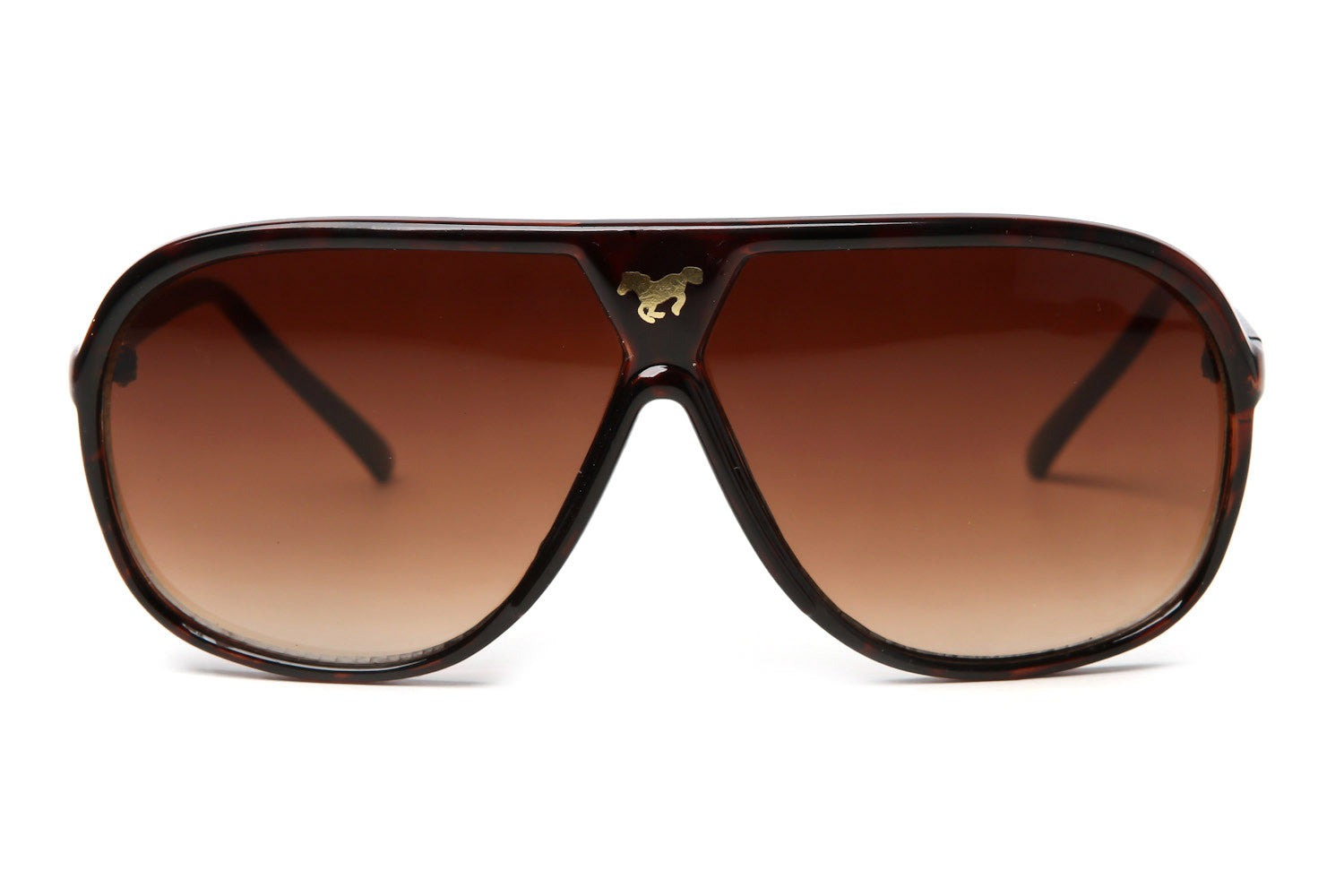Gold Horse Colored Plastic Aviator Sunglasses