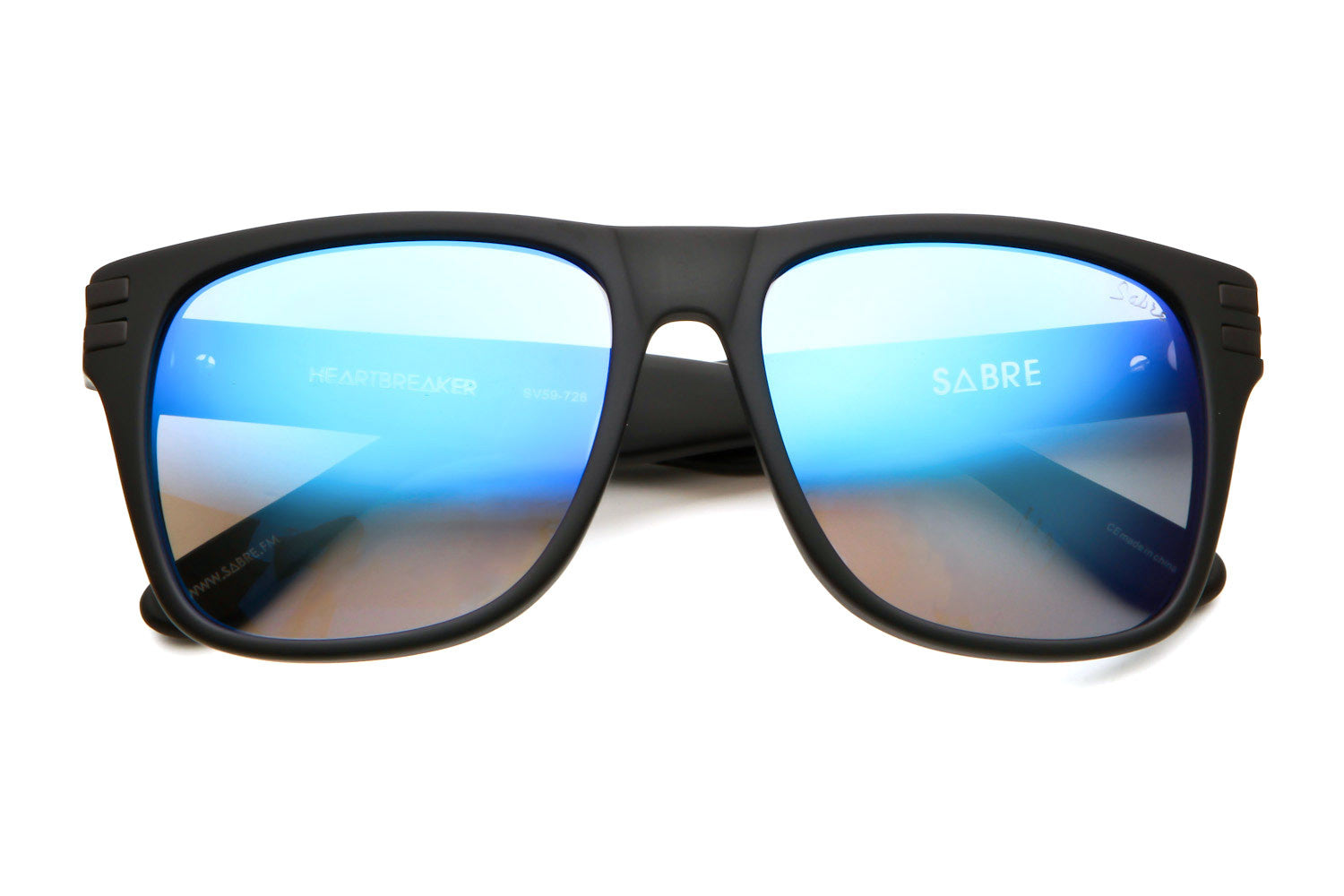 Heartbreaker Sunglasses (Matte Black/Blue Mirror)