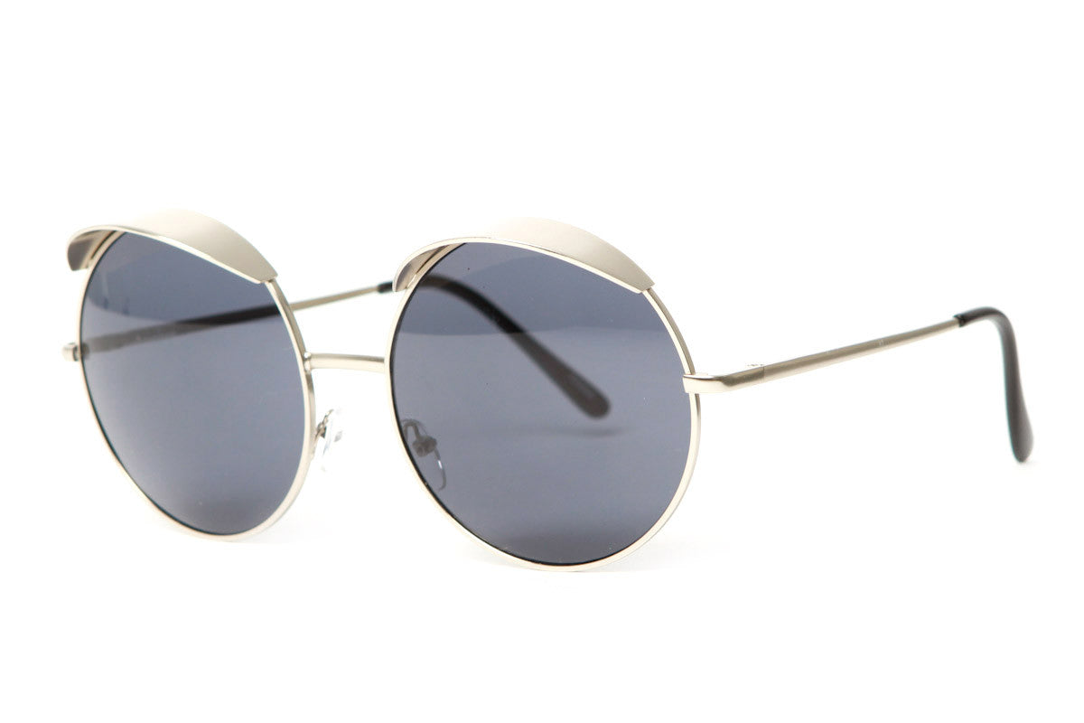 Vize Round Metal Frame Oversized Sunglasses