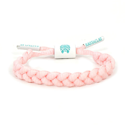 Goonie Mini Braided Shoelace Bracelet (Pink/White)