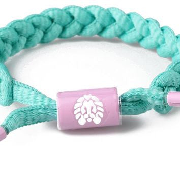 Now Later Mini Braided Shoelace Bracelet (Green/Pink)