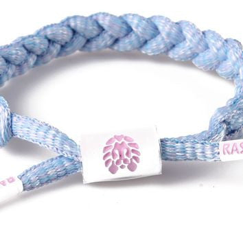 Macaron Mini Braided Shoelace Bracelet (Light Blue/White)