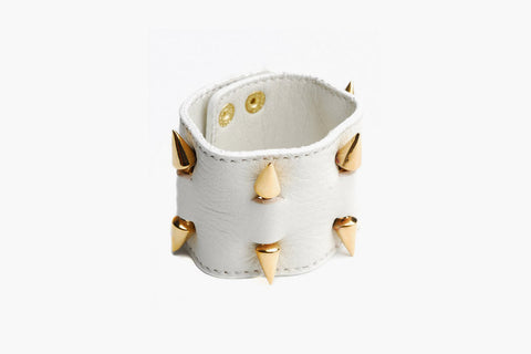 Leather Cuff with Spikes (White/Gold)