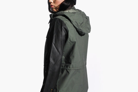 Women's Leatherette Army Parka (Olive)