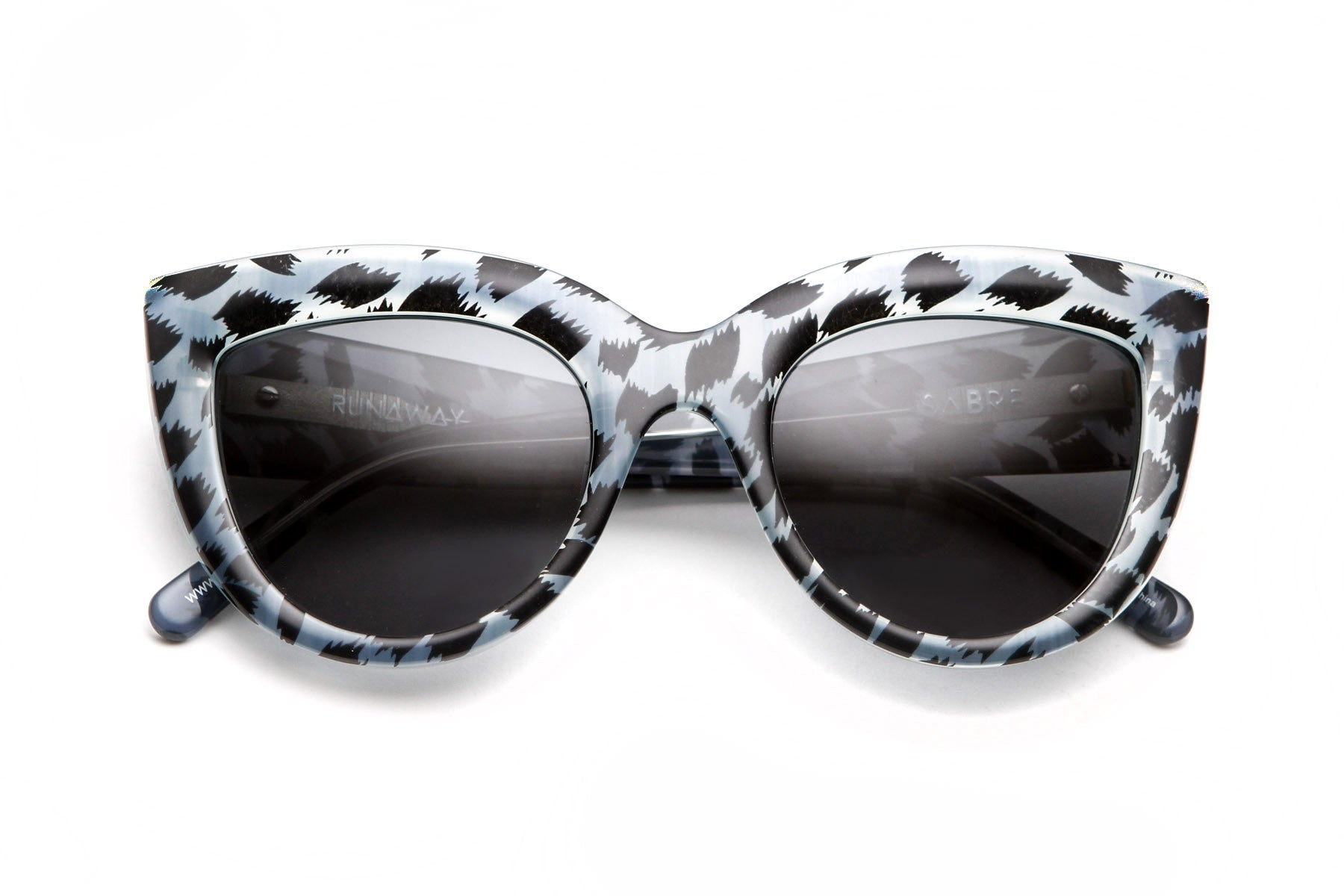 Runaway Sunglasses (Blue Animal Print/Grey)