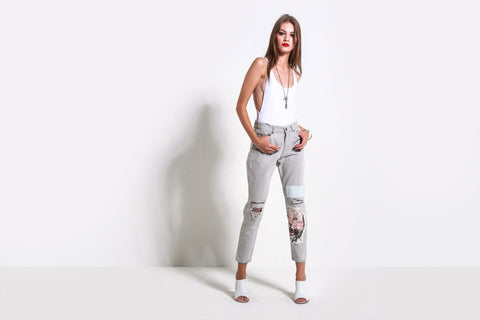 Women's Slim Slouch Pant (White Pant)