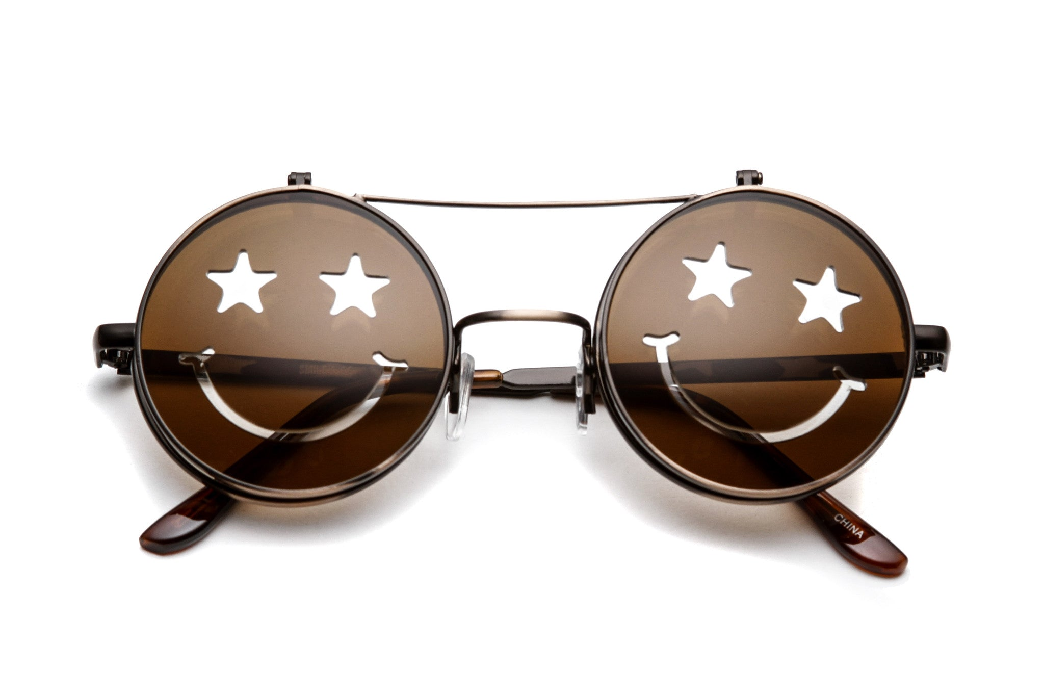 Starry Eyed Round Flip Up Sunglasses
