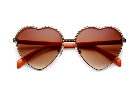 Colored Perforated Metal Heart Sunglasses