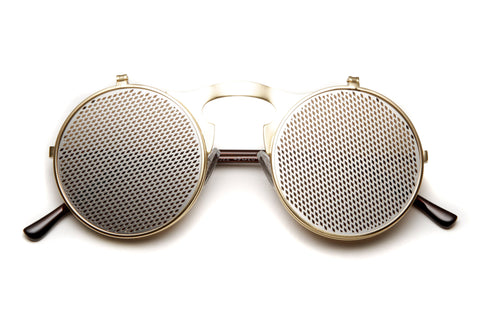 Aysha Silver Netted Round Flip Up Metal Frame Sunglasses