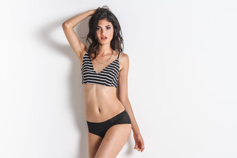 Piper Jail Bond Bralette (Black/White Stripe)