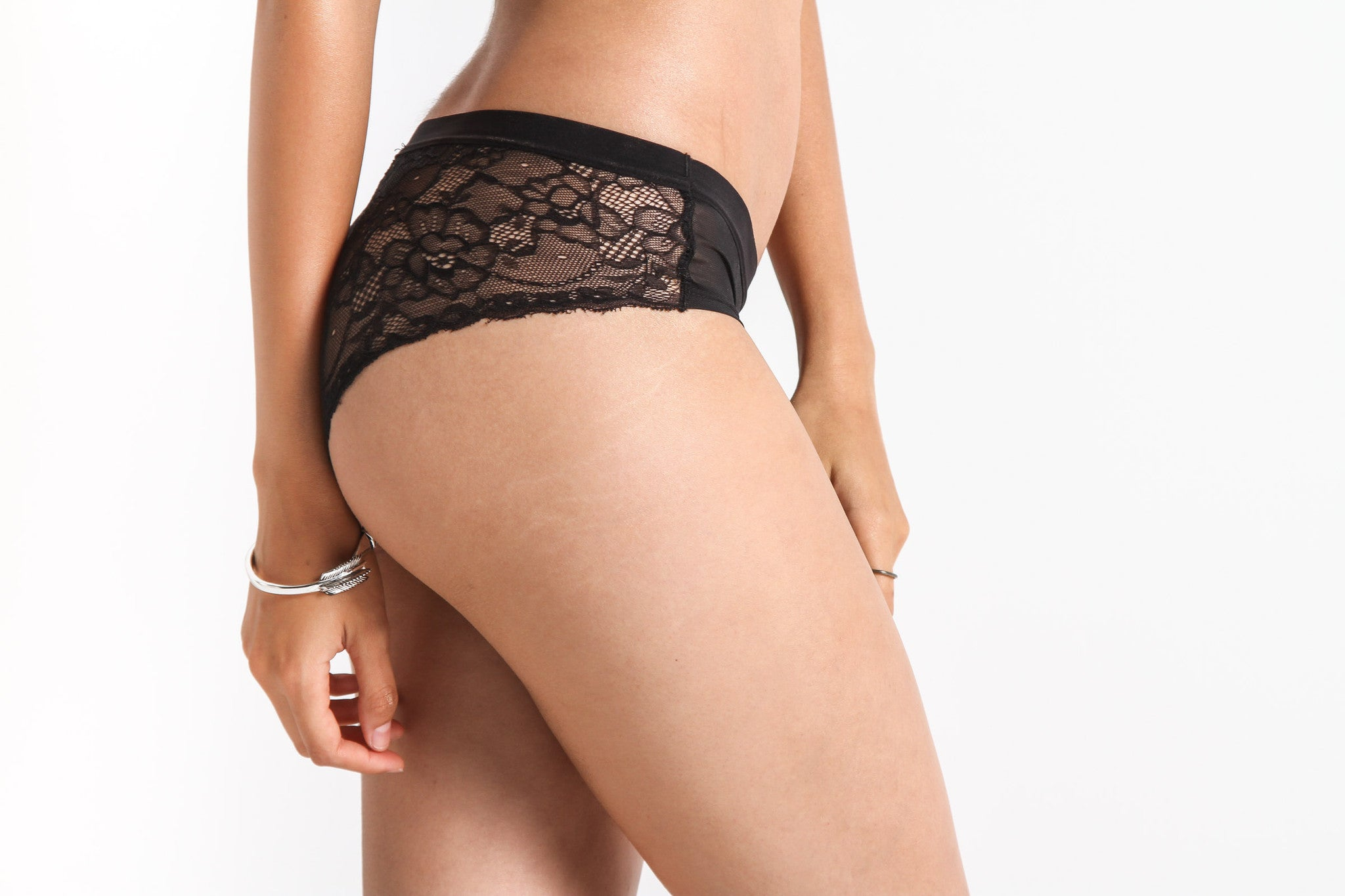 Women's Sheer Thing Cheeky Lace Panty (Black)