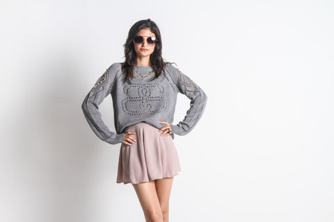 Women's SS Eyelet Sweater (Heather Grey)