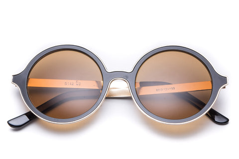 Harper Gold Trim Round Sunglasses