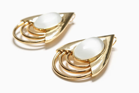 Cat's Eye Teardrop Earrings (White/Gold)