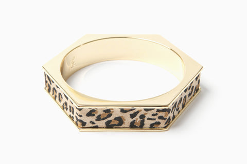Hexagon Bangle (Gold/Leopard)