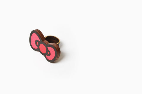 Women's Sanrio Flat Laminate Bow Ring (Red)