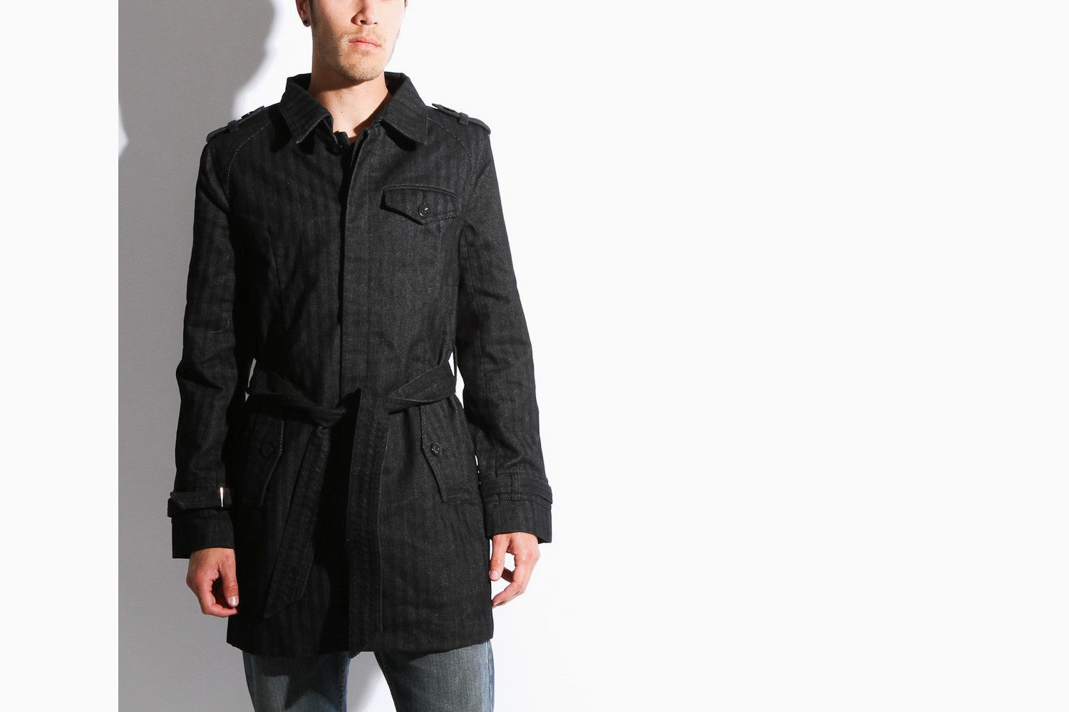 Men's Rufus Coat (Black Herringbone)