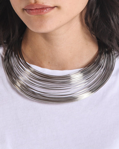 Lykke Wire Layered Bib Necklace (Silver)