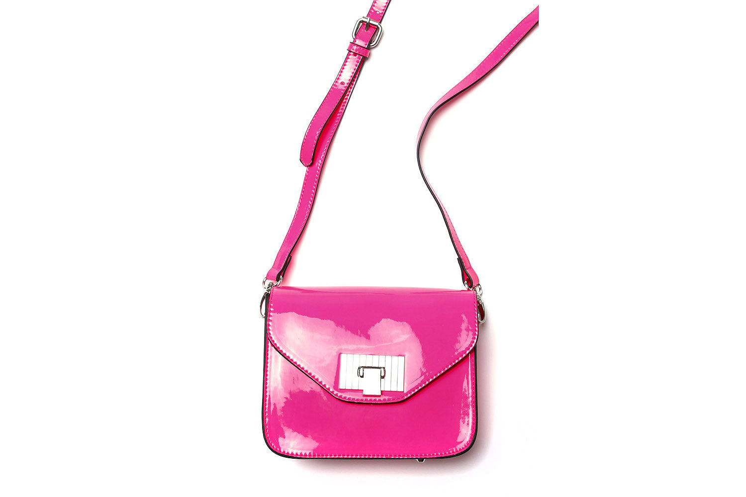 Lauren Patent Mini Messenger Bag (Neon Pink)