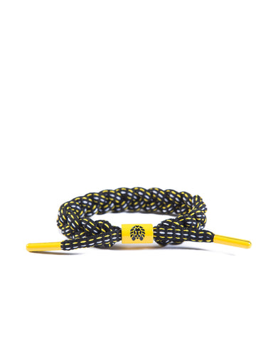 The Burgh Shoe Lace Bracelet (Black/Yellow/White)