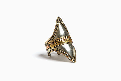 The Emperor Double Amulet Adjustable Ring (Silver)