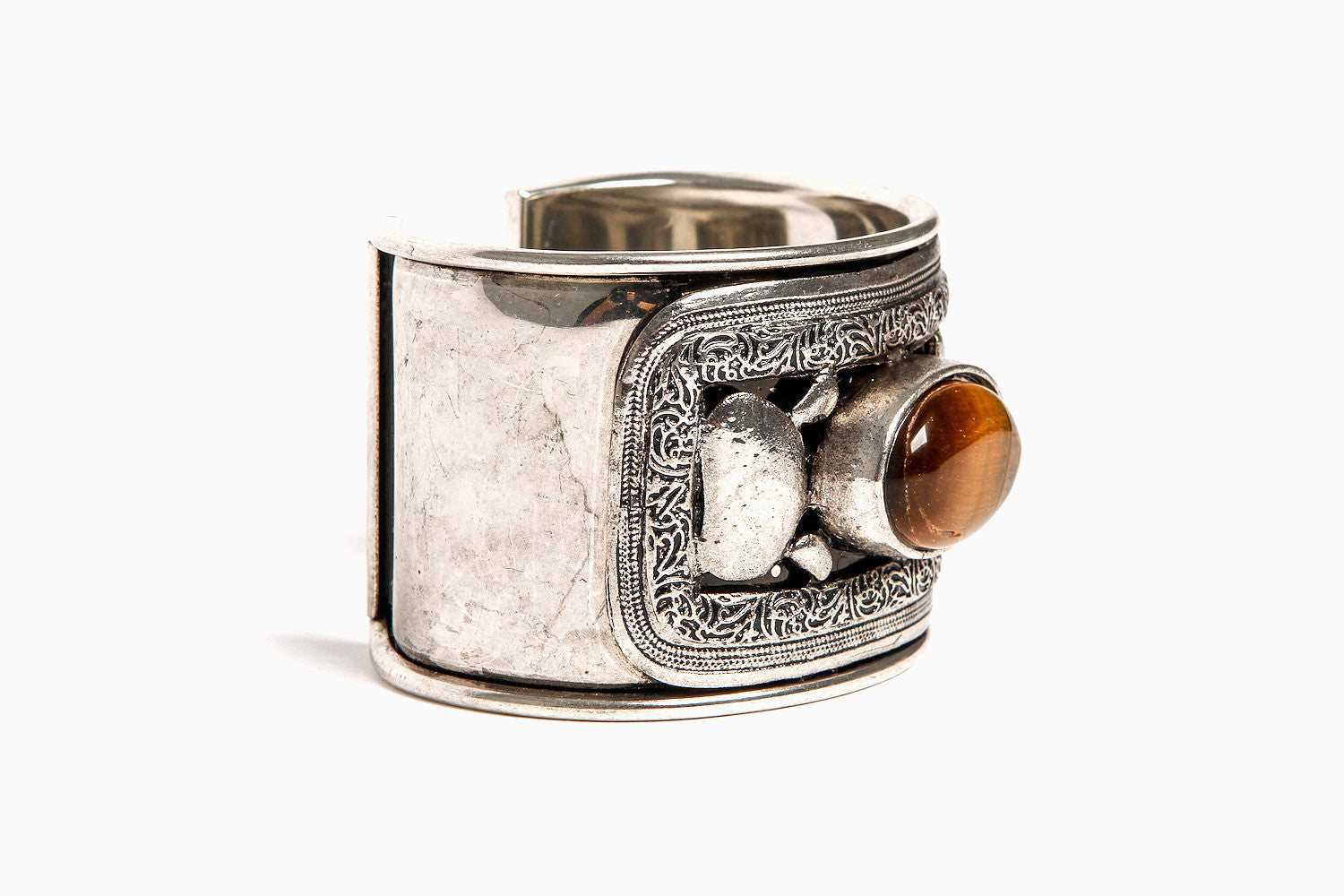 Priestess's Tiger's Eye Adjustable Cuff (Silver)